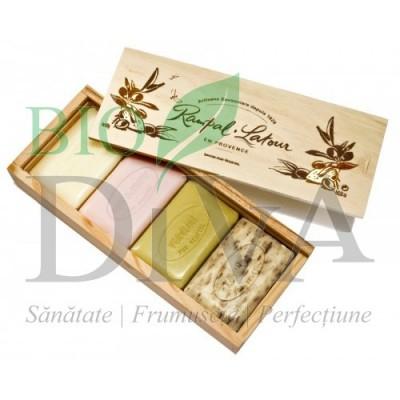 Set de 4 sapunuri naturale in cutie din lemn cadou RAMPAL LATOUR