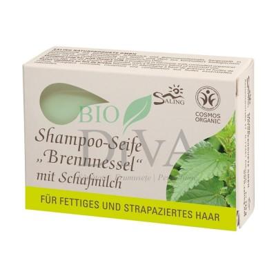 Șampon solid cu lapte de oaie și urzică pentru păr gras sau degradat Saling Naturprodukte