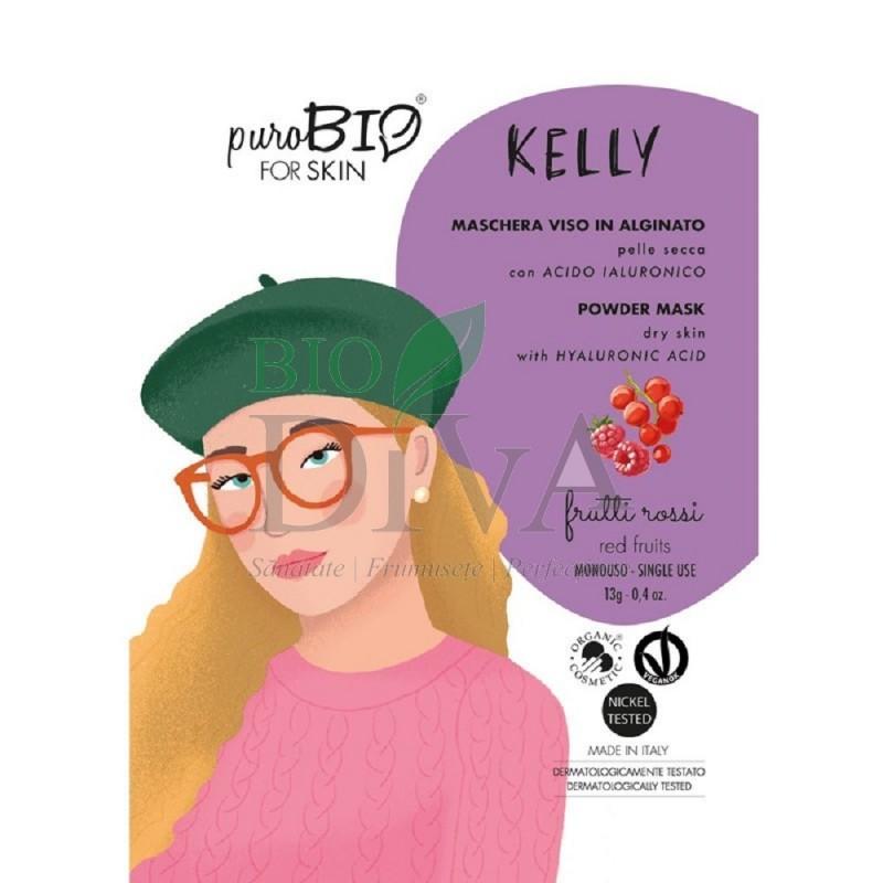 Mască peel-off pentru ten uscat cu fructe roșii Kelly PuroBio Cosmetics