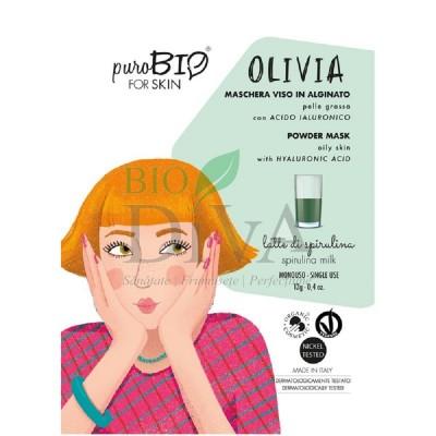 Mască peel-off pentru ten gras cu spirulină Olivia PuroBio Cosmetics