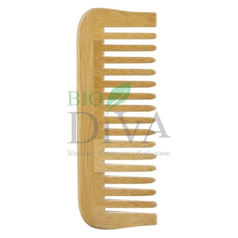 Pieptene din lemn de bambus cu dinți rari Avril