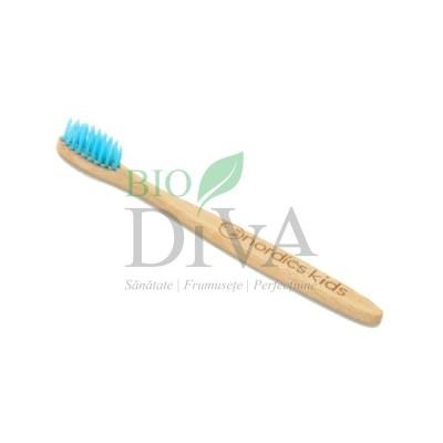 Periuță de dinți din bambus pentru copii Albastră Nordics