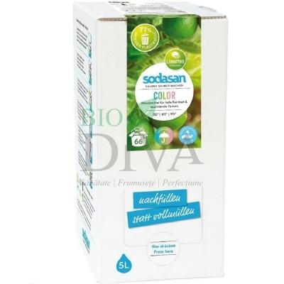 Detergent bio pentru rufe albe și colorate cu lime 5 L Sodasan