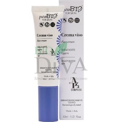 Cremă hidratantă light cu acid hialuronic PuroBio Cosmetics