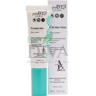 Cremă matifiantă pentru ten gras cu acid hialuronic PuroBio Cosmetics