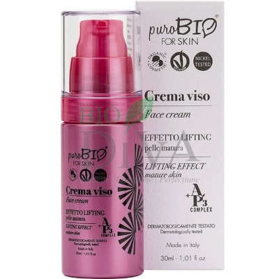 Cremă cu efect lifting pentru ten matur cu acid hialuronic PuroBio Cosmetics