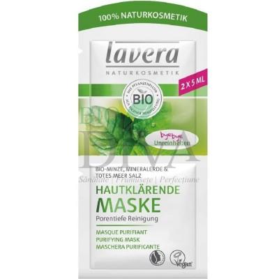 Mască purificatoare pentru ten gras cu mentă, argilă și sare de mare 10 ml Lavera