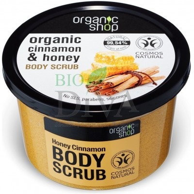 Scrub de corp delicios cu miere și scorțișoară Honey Cinnamon 250 ml Organic Shop