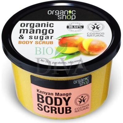 Scrub de corp delicios cu zahăr și mango Kenyan Mango 250 ml Organic Shop