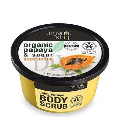 Scrub de corp delicios cu zahăr și papaya Juicy Papaya 250 ml Organic Shop