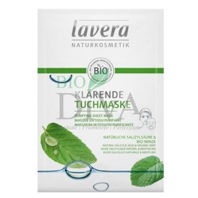 Mască purificatoare Sheet Mask cu mentă și acid salicilic Lavera