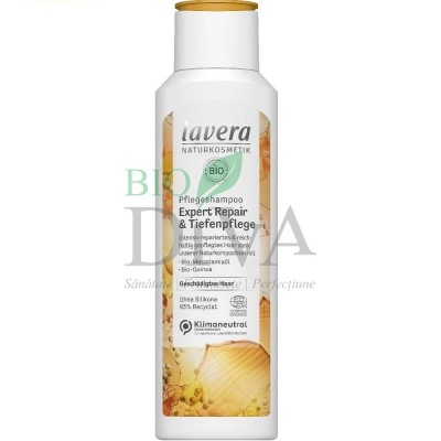 Șampon expert reparator cu macadamia și quinoa pentru păr deteriorat 250 ml Lavera