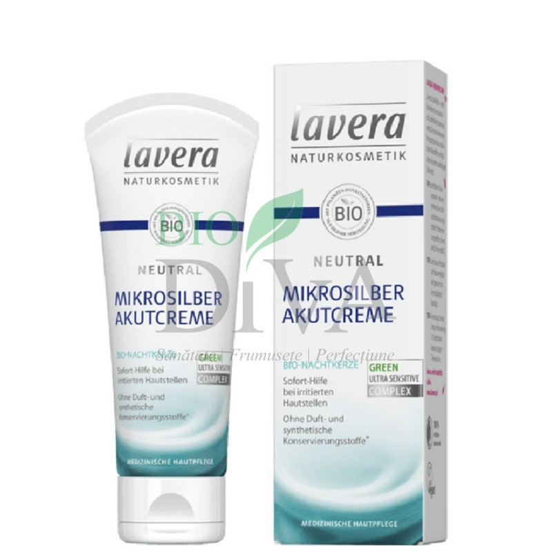Akutcreme, tratament intensiv cu particule de argint pentru pielea iritată și eczeme Neutral 75 ml Lavera