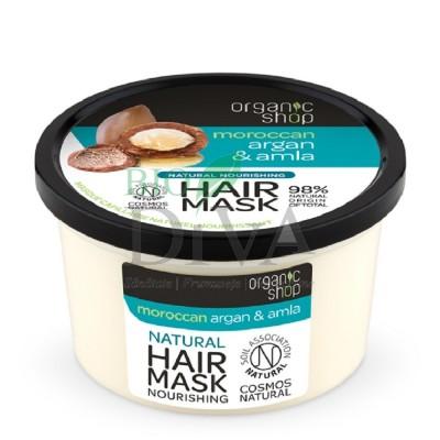 Mască de păr bio nutritivă cu argan și amlă 250 ml Organic Shop