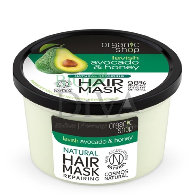 Mască de păr bio reparatoare avocado și miere Organic Shop