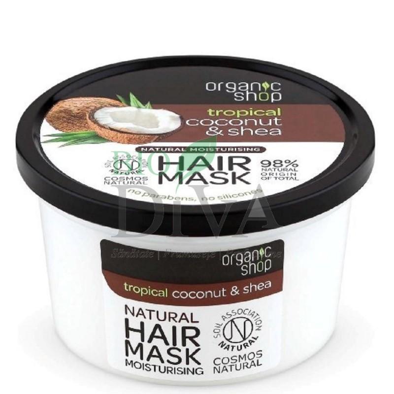 Mască de păr bio hidratantă cu cocos și unt de shea 250 ml Organic Shop