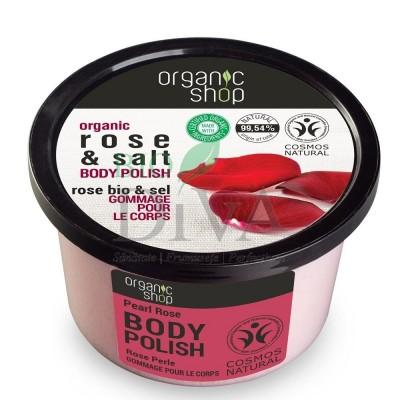 Exfoliant de corp polish cu sare marină și trandafir Pearl Rose 250 ml Organic Shop