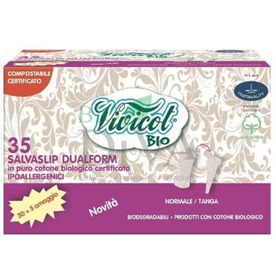 Protej slip din bumbac organic dual form (normal și tanga) 35 buc Vivicot