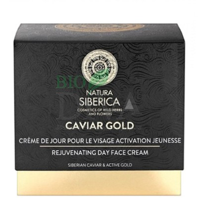 Cremă de zi pentru reîntinerire cu aur coloidal și caviar Caviar Gold Natura Siberica