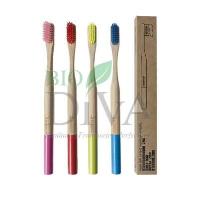 Periuță de dinți din lemn de bambus Soft Bio Essenze