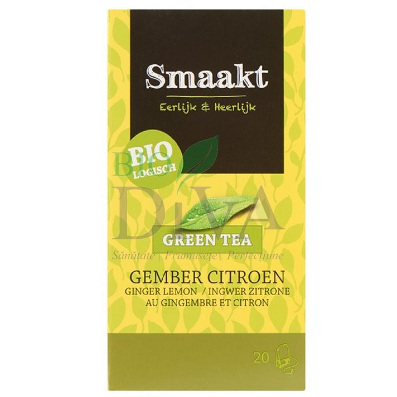 Ceai verde cu ghimbir și lămâie Bio Smaakt