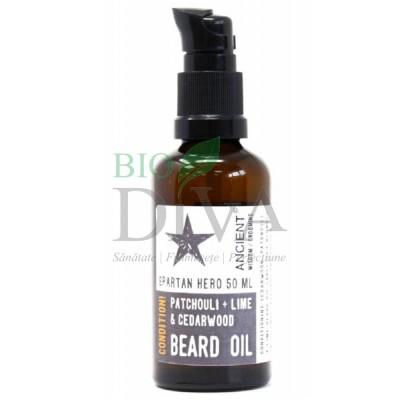 Ulei de barbă natural cu patchouli și lime Spartan Hero 50 ml Ancient Wisdom
