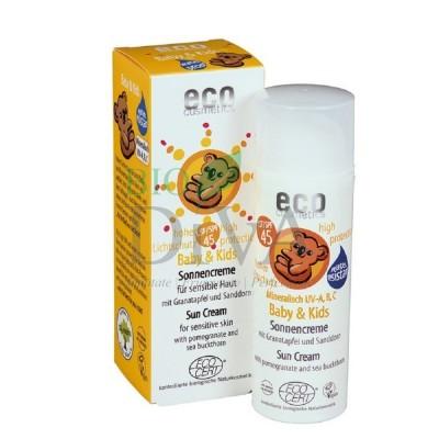 Cremă bio protecție solară minerală bebe și copii FPS 45 50 ml Eco Cosmetics