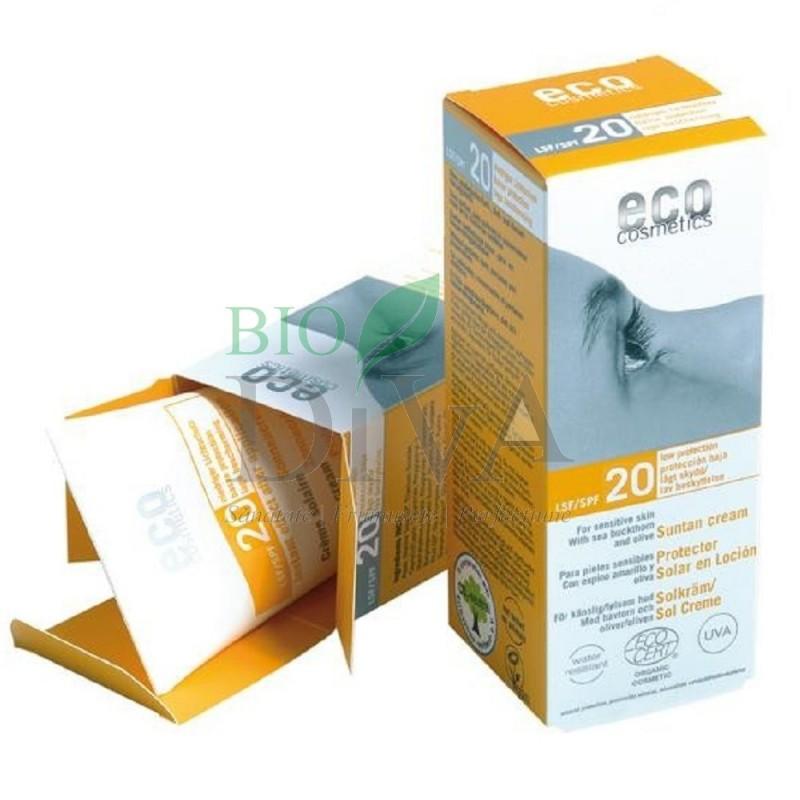 Cremă bio de protecție solară SPF 20 rezistentă la apă Eco Cosmetics