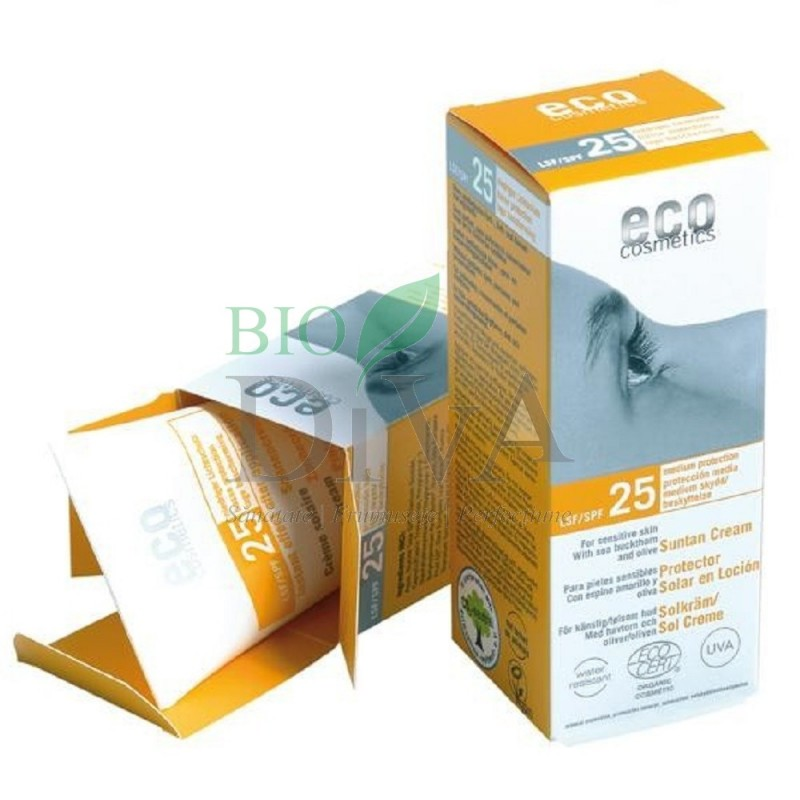 Cremă bio de protecție solară SPF 25 rezistentă la apă 100 ml Eco Cosmetics