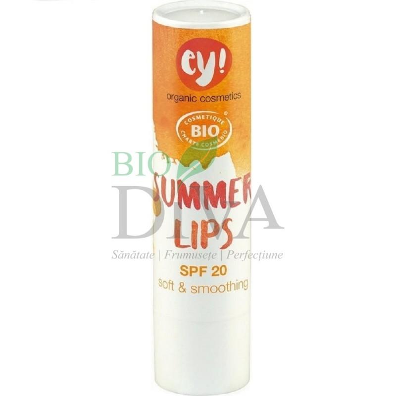 Balsam de buze bio cu protecție solară SPF 20 Ey! Summer Lips 4 g Eco Cosmetics