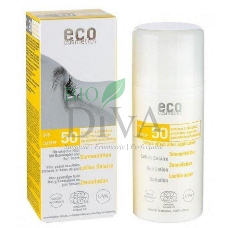 Loțiune fluidă de protecție solară SPF 50 cu goji și rodie Eco Cosmetics
