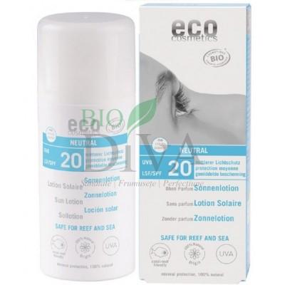 Loțiune fluidă de protecție solară SPF 20 fără parfum 100 ml Eco Cosmetics