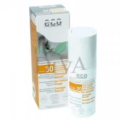Gel facial protecție solară înaltă SPF 30 transparent 30 ml Eco Cosmetics