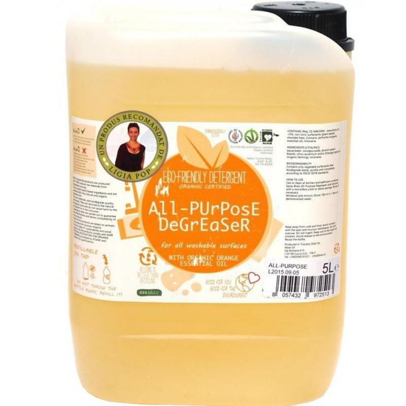 Detergent ecologic pentru toate suprafețele cu ulei de portocale 5L BIOLU