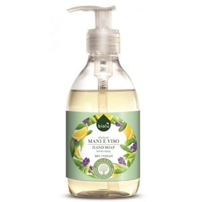 Săpun lichid ecologic antibacterian cu lavandă și vitamina E pentru față și mâini 300ml BIOLU
